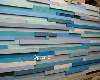 Modern Wood Wall Art,Wood Sculpture, Abstract Painting,  Wall Art, Reclaimed Wood Rustic Ocean Blue