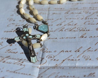 Art Deco Antique Rosary with Mother of Pearl Beads, Catholic Collectible Rosary with Enameled Guilloche, Jewelry Supplies