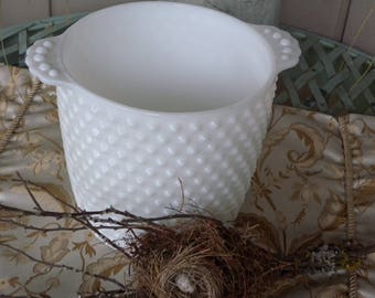 Planter or Vase ~ Hobnail Milk Glass Planter or Vase with Two Stylized Handles on the Rim ~ Wedding Reception Decor//  Spring Home Decor.