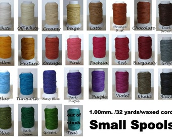 1x 32.8yards small spools/Waxed cord/1.00mm -one  small roll