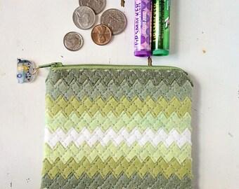 Green Coin Purse Wool Felt Coin Purse Ombre Bag Zipper Pouch Felt Purse Organizer Zipper Wallet Felt Cosmetic Bag Felt Purse for Cosmetics