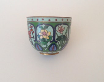 Vintage Small Scale Cloisonné Cup, Turkish Moroccan Vibe
