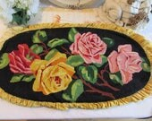 Vintage French fabulous large oval needlepoint pillow / cushion cover of country flowers.  Country cottage chic