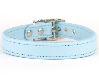 Ice Blue Handmade Leather Dog Collar