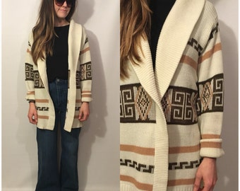 Vintage 70s Beige Off White Long Cardigan Baggy Sweater Aztec Print Size Large