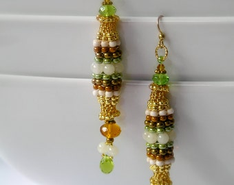 Green & Gold Dangle Earrings, Beaded Crystal Earrings - Cream Quartz Accents With Brown