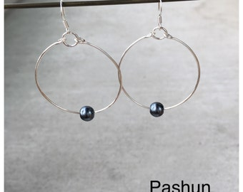 Seashell Jewelry ... Simple Freshwater Pearl Hoop Earrings (1477)