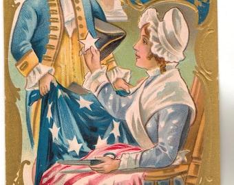 Vintage Postcard, George Washington, Flag, Adopting the Five Pointed Star, 1909