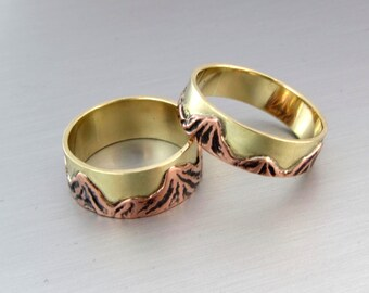 Mountain Ring, Mountain Range Jewelry, Mixed Metal Copper and Brass Ring