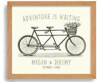 Adventure Awaits Unique Engagement Gift Wedding Decor Idea Gift for Couples Bicycle for Two Bridal Shower Bride and Groom Romantic Keepsake