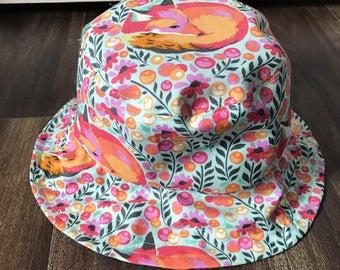Handmade Tula Pink Fox Baby Bucket Hat (3-5 years)