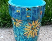 Mosaic Flower Pot SUNFLOWERS Mosaic Planter