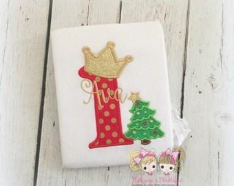 Christmas birthday shirt - Christmas themed 1st birthday shirt - first birthday - 1st Christmas shirt - Christmas tree shirt - embroidered