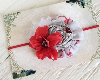 red gray white headband baby headbands matilda jane m2m headband toddler headband fabric flower headband persnickety m2m headband