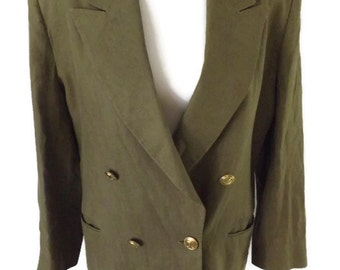 80s Olive Green Linen Double Breasted Over Sized Blazer Christian Dior with Large CD Gold Buttons