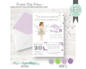 PIXIE Dust Birthday Party printable file for 5x7 invitation. Multiple color schemes and hair color of choice. Fairy Party. Pink purple blue