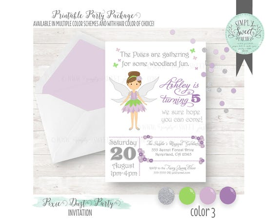 Pixie dust birthday party printable file for 5x7 invitation il570xn stopboris Image collections
