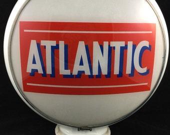 Antique Gas Globe Atlantic Gas Pump Vintage  Car Auto Truck Race Race Track Raceway Dragstrip Desile Service Station Gas Tank Miles