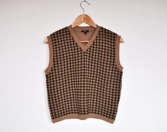 Vintage Tan and Brown Houndstooth V Neck Knit Sweater Vest