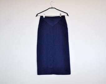 Vintage High Waist Navy Blue Pencil Skirt