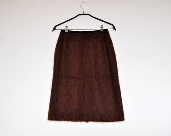Vintage 60s Purple and Brown Fuzzy Knit Pencil Skirt Extra Small