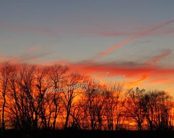 Sunset photos, digital download, winter sunset, Photos by Shygar, sunset in Indiana, nature photos