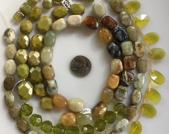 Bead Destash, Mixed Lot, Green Calcite, New Jade. Green Turquoise, Glass
