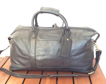 Hard to Find Vintage Genuine Coach Black Leather Duffel Bag Travel Bag Carry On Made in the United States