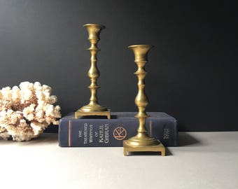 Vintage Brass Candlestick Holders PAIR, Hollywood Regency Candle Stick Pair, Vintage Mid Century Candleholders, Boho Glam, Boho Wedding, MCM