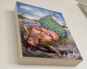 "Special Edition Extra Fancy, embellished Mermaid bbw pin-up art on wood panel  8""x10"""
