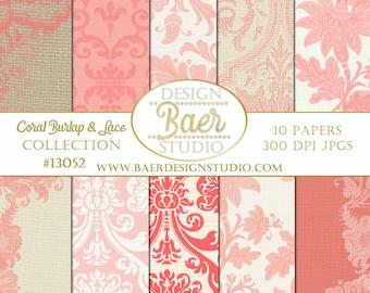 CORAL DAMASK Digital PAPER:Shabby Chic Digital Paper, Peach Digital Paper, Burlap and Lace Paper, Digital Paper Floral, Bohemian Paper
