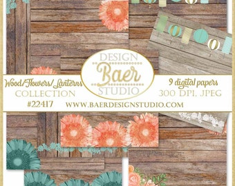 50% off:SHABBY CHIC Digital PAPER, Wood Digital Paper, Wood and Floral Digital Paper, Lantern Digital Paper, Wood and Lace Paper, #22417