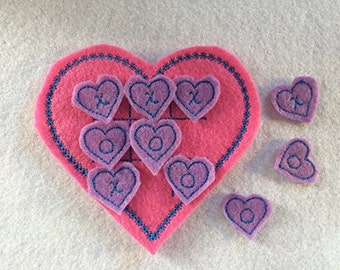 Heart Tic Tac Toe Embroidery Design