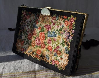 Baroque Rococo Evening Bag/Vintage 1930/Petit Point Tapestry Handbag With Jade Green Gem Stone Clasp/Prom Formal Wedding