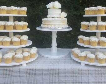 Cake Stand, Cupcake Stand, Wood Cake Stand, White Cake Stand, Wedding Cake Stand, Wood Cake Stand, White Cupcake Stand, Set of 3 Stand