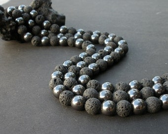 5 Natural Black Volcanic Lava and Gemstone Hematite 10mm Round Beads Full Strand - 5 Strands  Liquidation Close Out - By Whole Lot Only