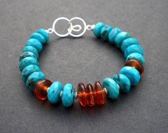 Genuine Turquoise Faceted Rondelle Bracelet, Baltic Amber Bracelet, 925 Sterling Silver, Boho Bracelet