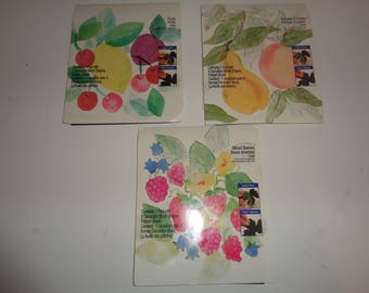 3 Vintage Plaid Decorator Block Stamp Kits of Fruits and Berries that have never been used for sale in ONE LOT, 1995 Plaid Enterprises, Inc.
