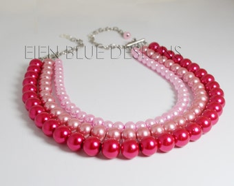 Shades of Pink Multi Strand Pearl Necklace, Hot Pink Necklace, Multi Strand Pink Necklace, Multi Strand Pink Necklace, Fuchsia/Pink Necklace