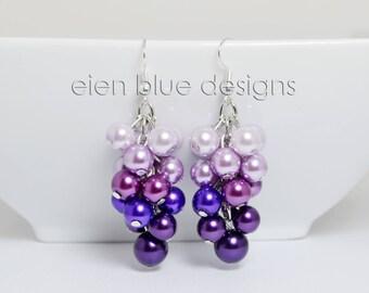 Purple Pearl Cluster Earrings, Purple Ombre Cluster Earrings, Shades of Purple Pearl Earrings, Chunky Purple Earrings, Lilac Pearl Earrings