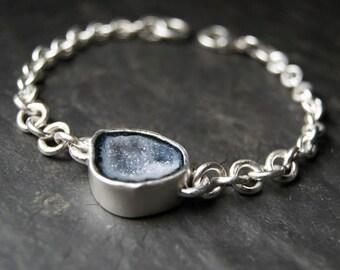 Blue Geode Druzy Bracelet in Sterling Silver