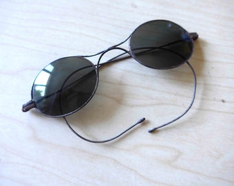 Rare Antique French Vintage Belle Epoque 1900's 1910's 1920's Sunglasses with Thin Metal Frame