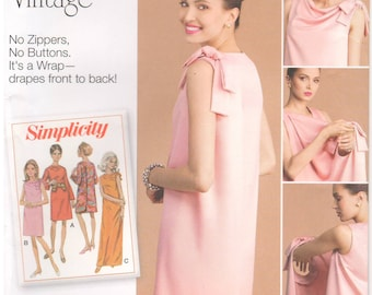 2016 - Simplicity 8049 Sewing Pattern Sizes 8/10/12/14/16/18/20/22/24 Three Armhole Back Wrap Dress 1960s Vintage Uncut