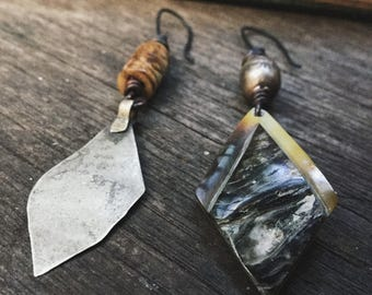 Kuchi and shell asymmetric earrings with bone and Ethiopian beads   assemblage earrings, bohemian artisan, rustic bohemian, boho gypsy