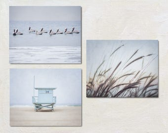 Coastal Three Print Set, Modern Ocean Picture Collection of Three Photos, Calming Beach House Wall Art, Blue Gallery Wall Set, Seaside Art