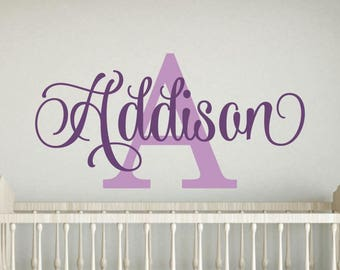 Girls Name Wall Decal Girls Name Decal Girl Name Wall Decal Girls Nursery Bedroom Bed Room Wall Decor Decoration Monogram Personalized