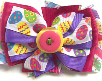 SPRING Hot Pink, Green, Purple, Yellow Multicolor EASTER Eggs Stacked Boutique Style Ribbon Bow Handmade for PETS Dog Collar Accessory