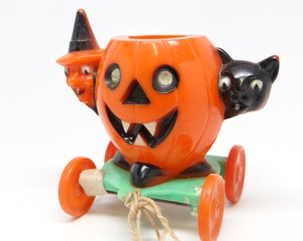 1950's Halloween Candy Container Pull Toy, Witch and Black Cat and Jack-o-lantern