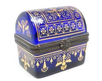 Vintage Estee Lauder Heirloom Treasures Cobalt Blue Glass with Gold Tone Accent Perfume Enamel Box