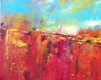 Abstract Landscape 'Never Enough' - acrylic painting on canvas - size 25cm x 20cm